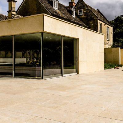 Tumbled & brushed limestone tiles