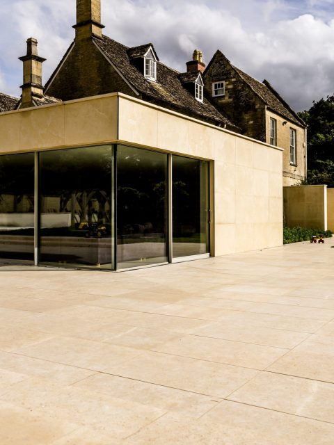 Tumbled & brushed limestone tiles