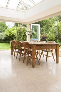 Sealed polished limestone flooring