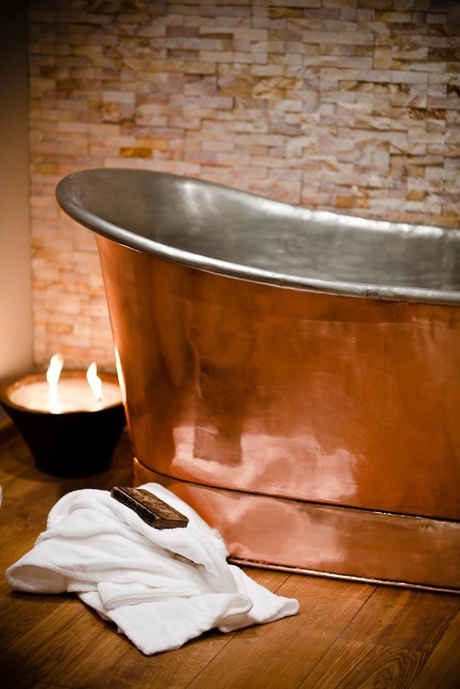 copper tin freestanding bath