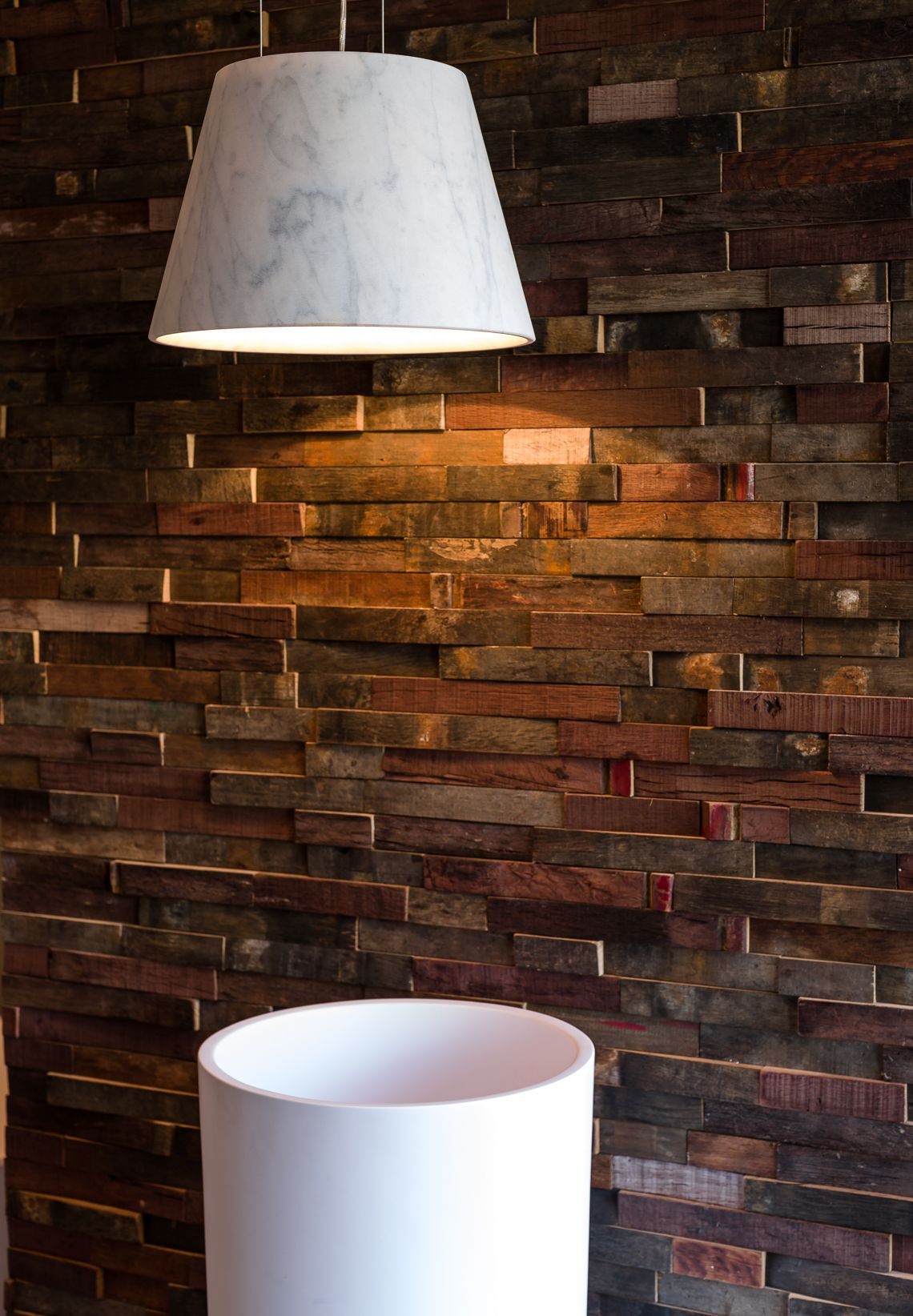 rustic wood barrels cladding