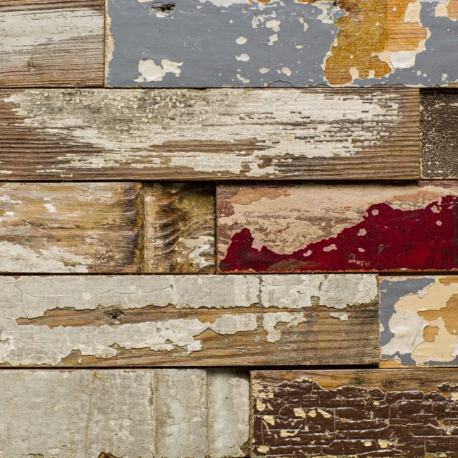 wooden wall cladding made from reclaimed window frames