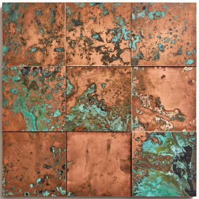 oxidised copper tiles