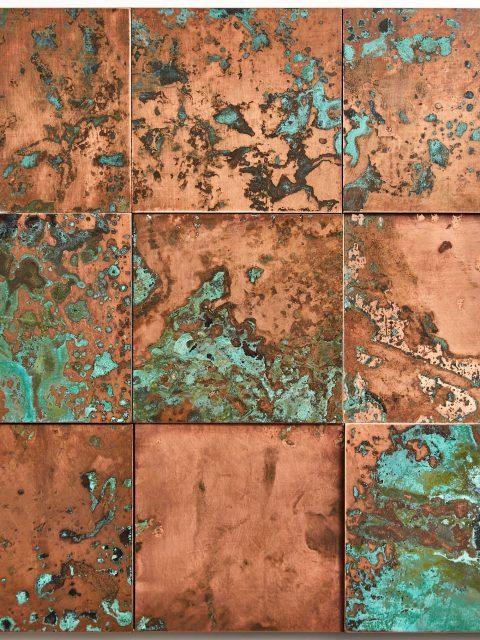 oxidised copper tiles