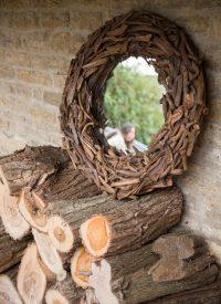 driftwood round mirror
