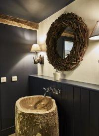 driftwood round mirror bathroom