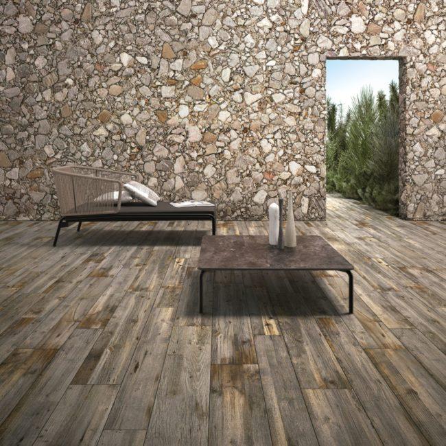 wood effect porcelain tiles - hazelnut