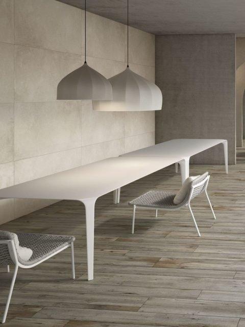 Grey wood effect porcelain tiles mushroom