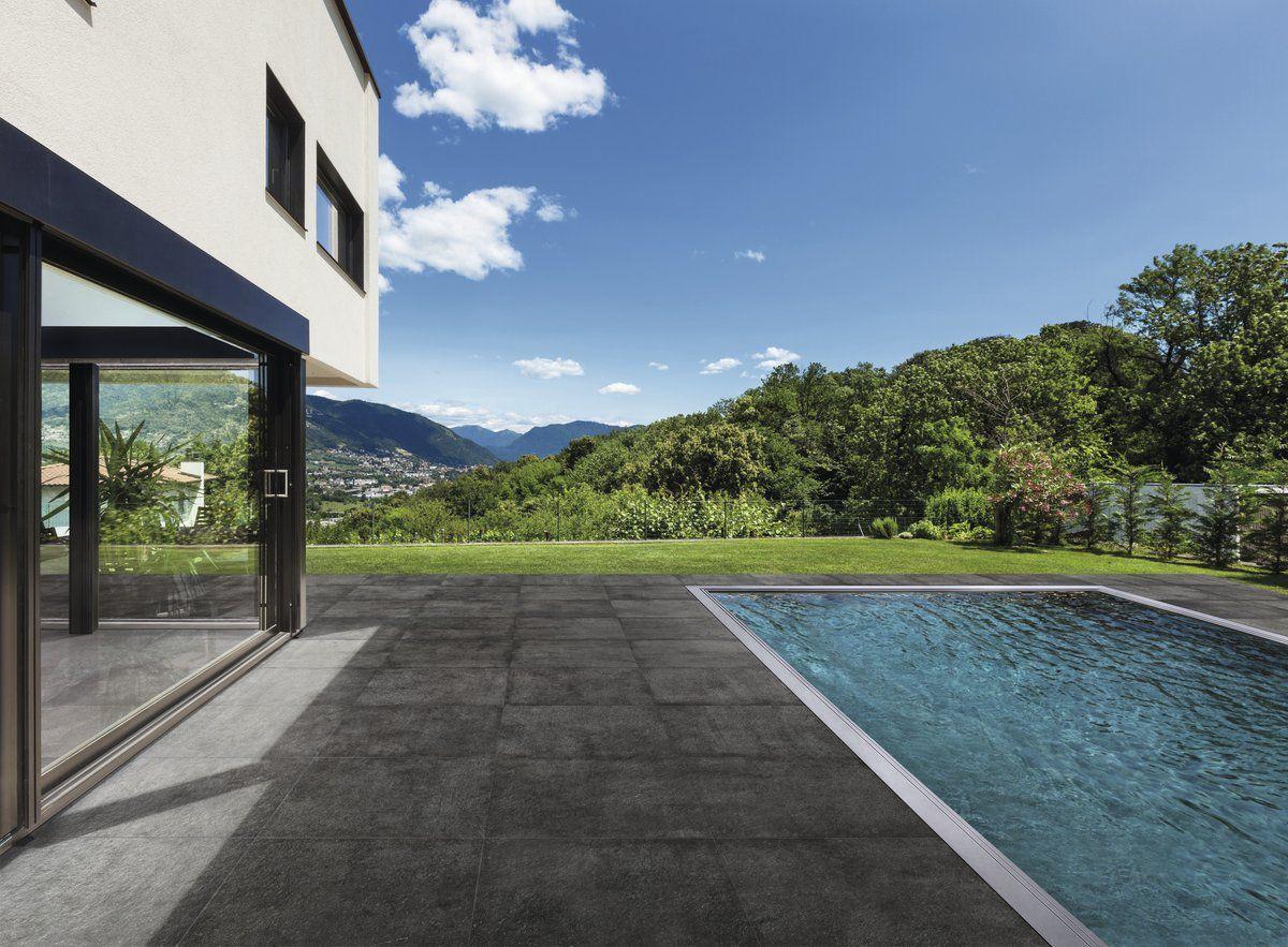 soft black concrete effect porcelain tiles outdoors