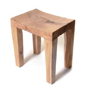 Rectangular teak root stool