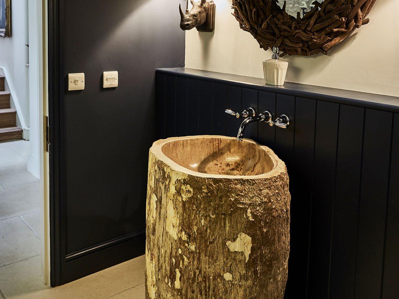 petrified wood pedestal basin